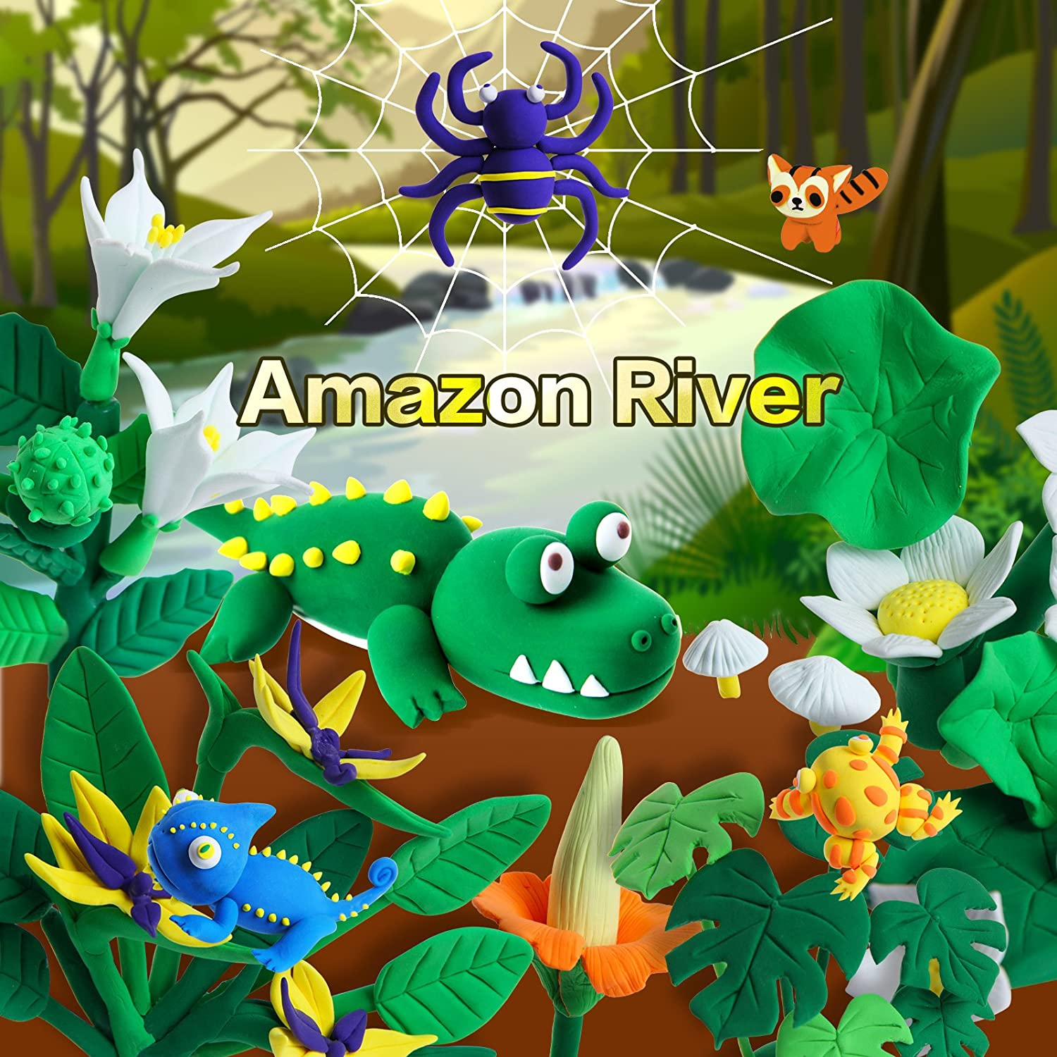 River Adventure Board Game Set AnanBros Air Dry Modeling Magic Clay Modeling Clay Ultra-light Molding Clay for Kids 12-Pack