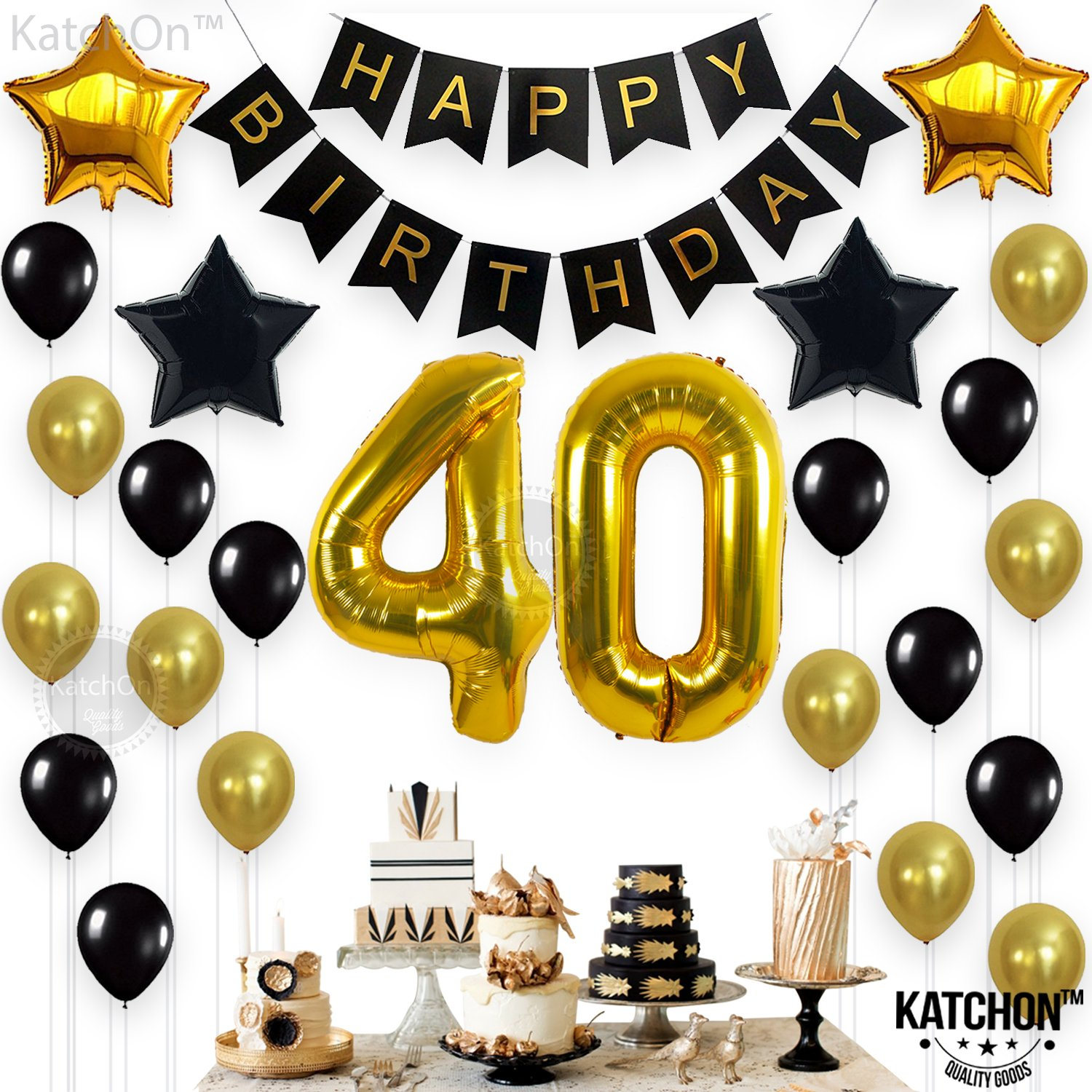 KATCHON 1 11 Decorations Happy Birthday Banner, 40th Balloons,Gold and Black, Number Perfect 40 Years Old Par, M by KATCHON (Image #2)