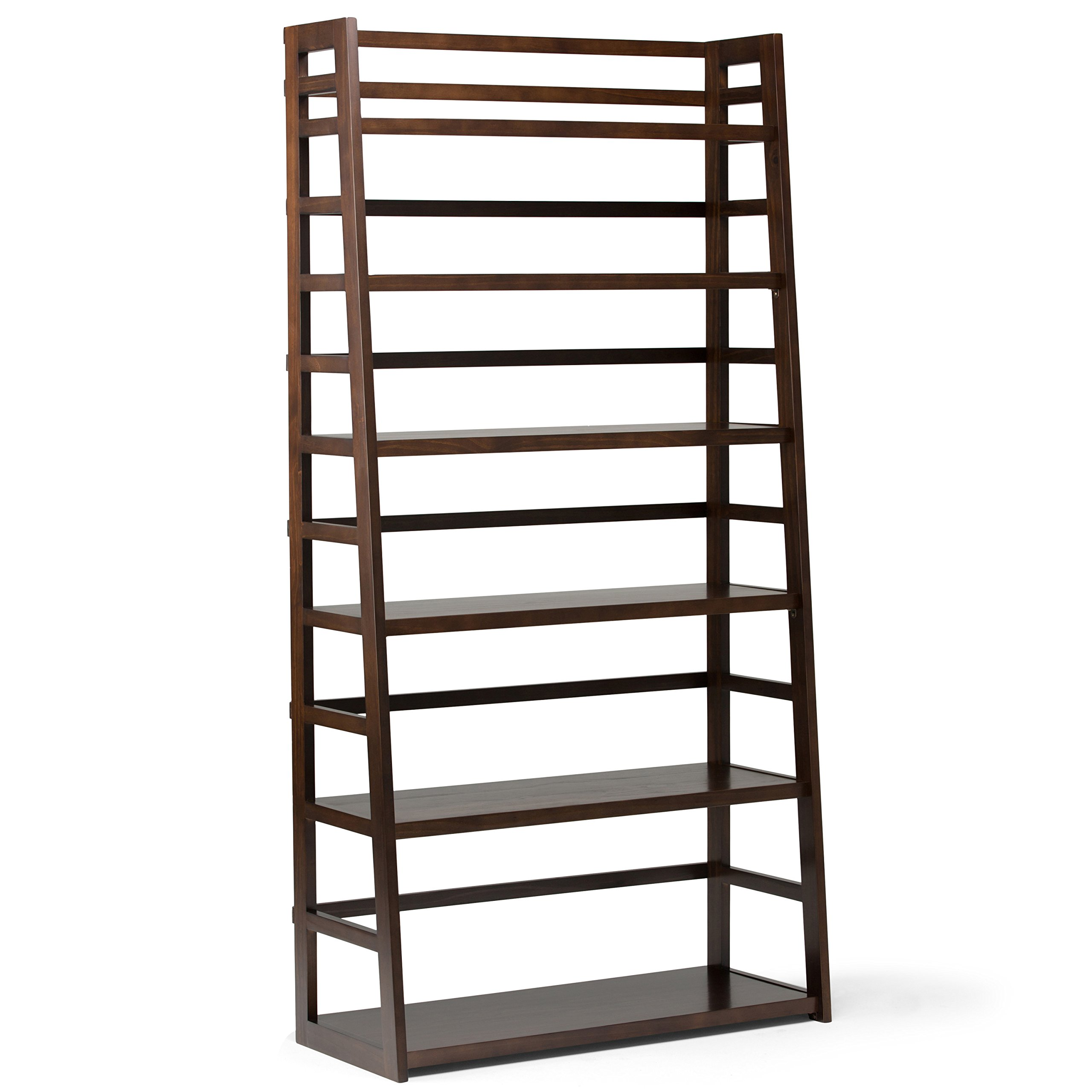Simpli Home AXSS008KDW Acadian Solid Wood 72 inch x 36 inch Rustic Wide Ladder Shelf Bookcase in Tobacco Brown by Simpli Home