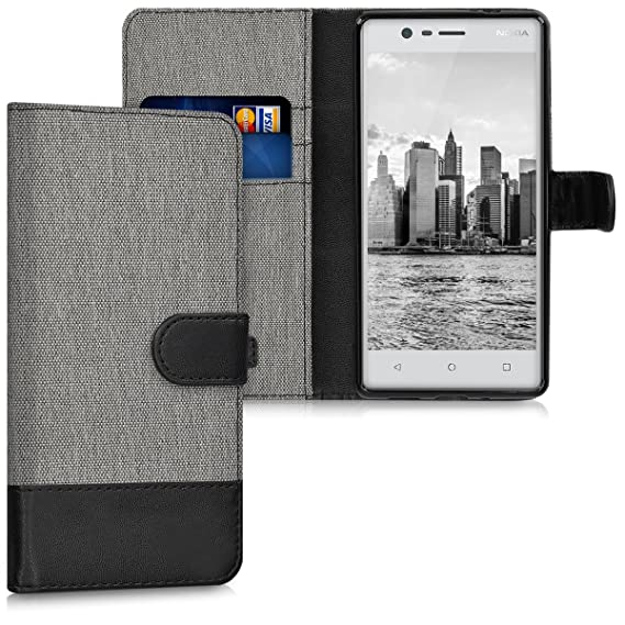 reputable site 316b8 2c941 kwmobile Wallet Case for Nokia 3 - Fabric and PU Leather Flip Cover with  Card Slots and Stand - Grey/Black
