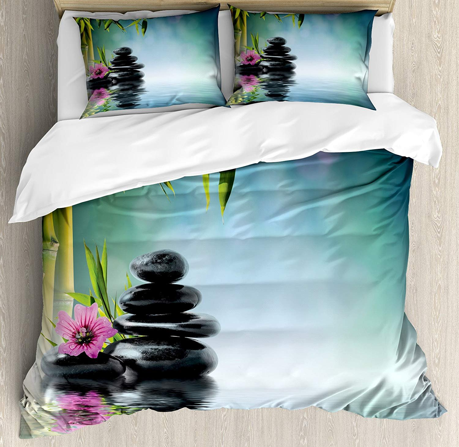 Zen Garden Duvet Cover Set Twin, Lightweight 4 Pieces Bedding Set with Zipper Ties Includes 2 Pillow Shams -Pink Flower Spa Stones and Bamboo Tree on The Water Relaxation Theraphy Peace
