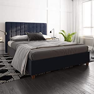 DHP Emily Upholstered Linen Platform Bed with Wooden Slat Support, Tufted Headboard, Full Size - Blue