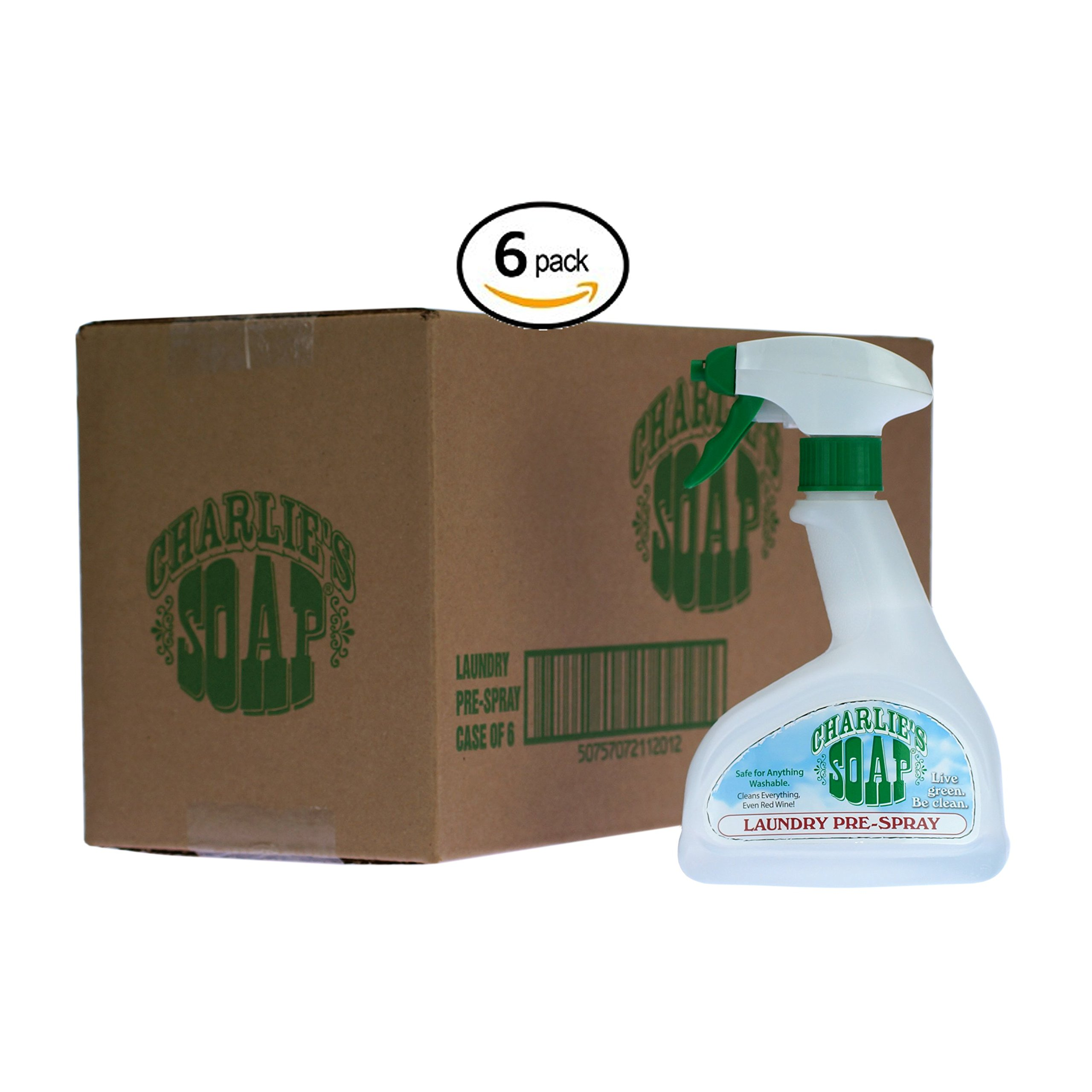 Charlie's Soap - Laundry Pre-Spray - Biodegradable Laundry Stain Treater (16.9 oz, 6 Pack)
