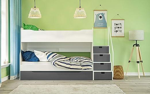 Litera Max 4 con cajón Escaleras en color blanco/gris: Amazon.es: Juguetes y juegos