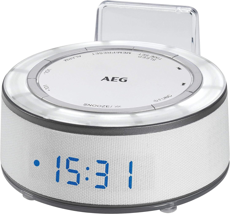 AEG MRC 4151 - Reloj con Radio, Pantalla LED, aux-in, MoodLight en 7 Tonos, indicador de Temperatura, Memoria para 10 emisoras, Color Blanco