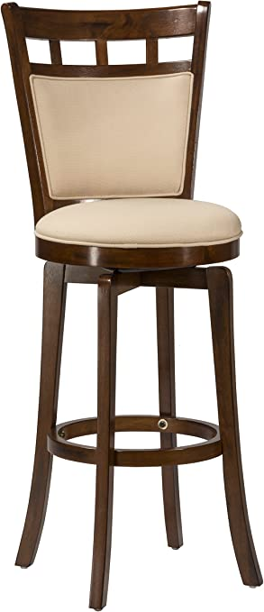 Hillsdale Jefferson 30 Inch Swivel Barstool With Cushion Back Brown Cherry Finish With Woven Beige Fabric Furniture Decor
