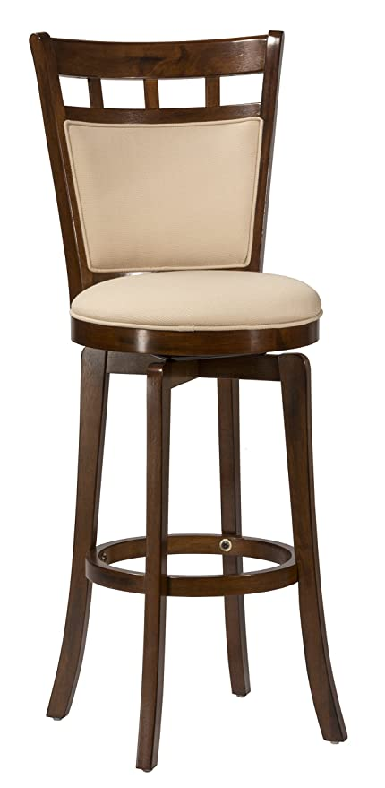 Hillsdale Jefferson 24 Inch Swivel Counter Stool With Cushion Back Brown Cherry Finish With Woven Beige Fabric