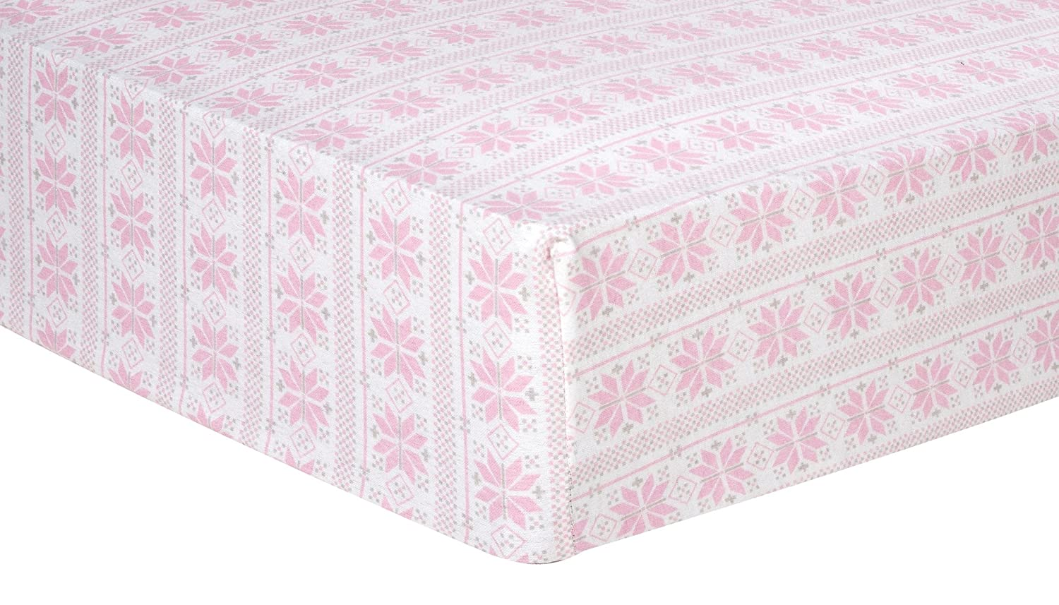 Trend Lab Fair Isle Deluxe Flannel Fitted Crib Sheet, Pink 101372