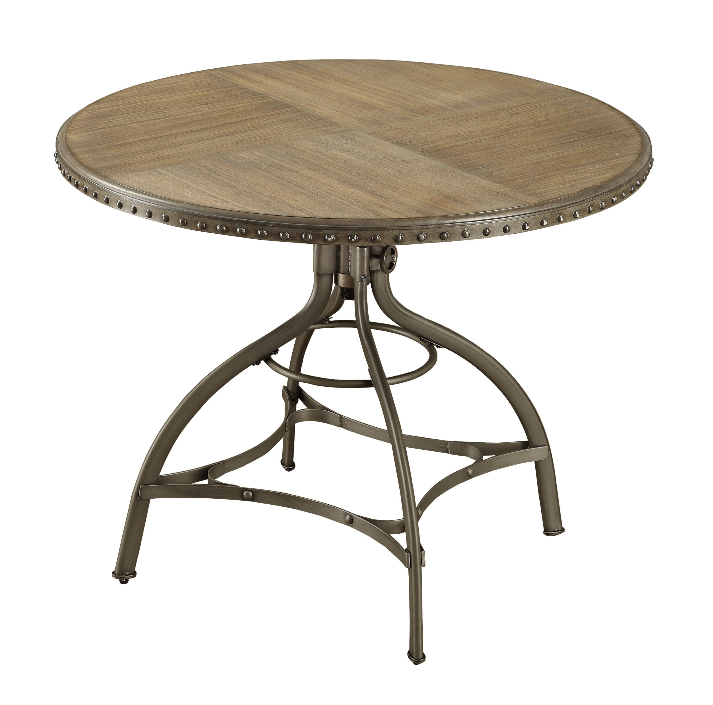 Homelegance Beacher 45'' Adjustable Height Round Dining Table with Riveted Metal Banding Accent