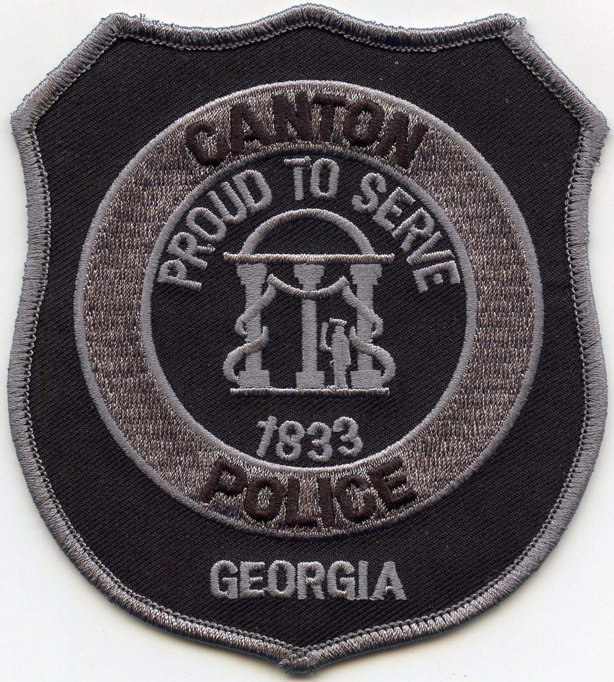 Embroidered Patch - Patches for Women Man - Canton Georgia GA Proud to Serve Subdued Police by Patcherer