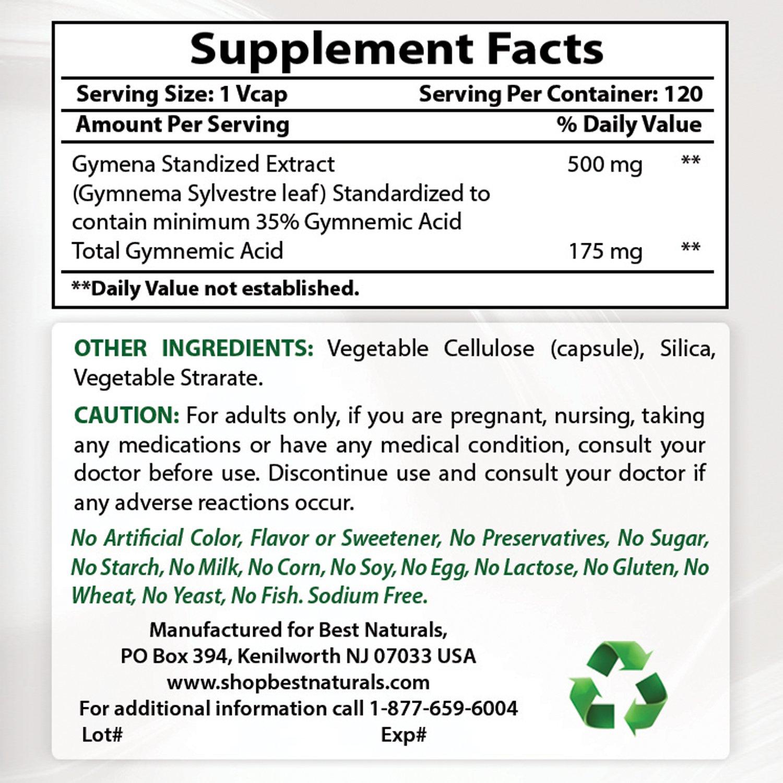 Best Naturals Gymnema Sylvestre leaf 500 mg 120: Amazon.es: Salud y cuidado personal