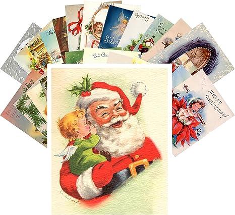 Postcard Pack 24pcs Vintage Christmas Greeting Cards Santa Reprint Arts Crafts Sewing Amazon Com
