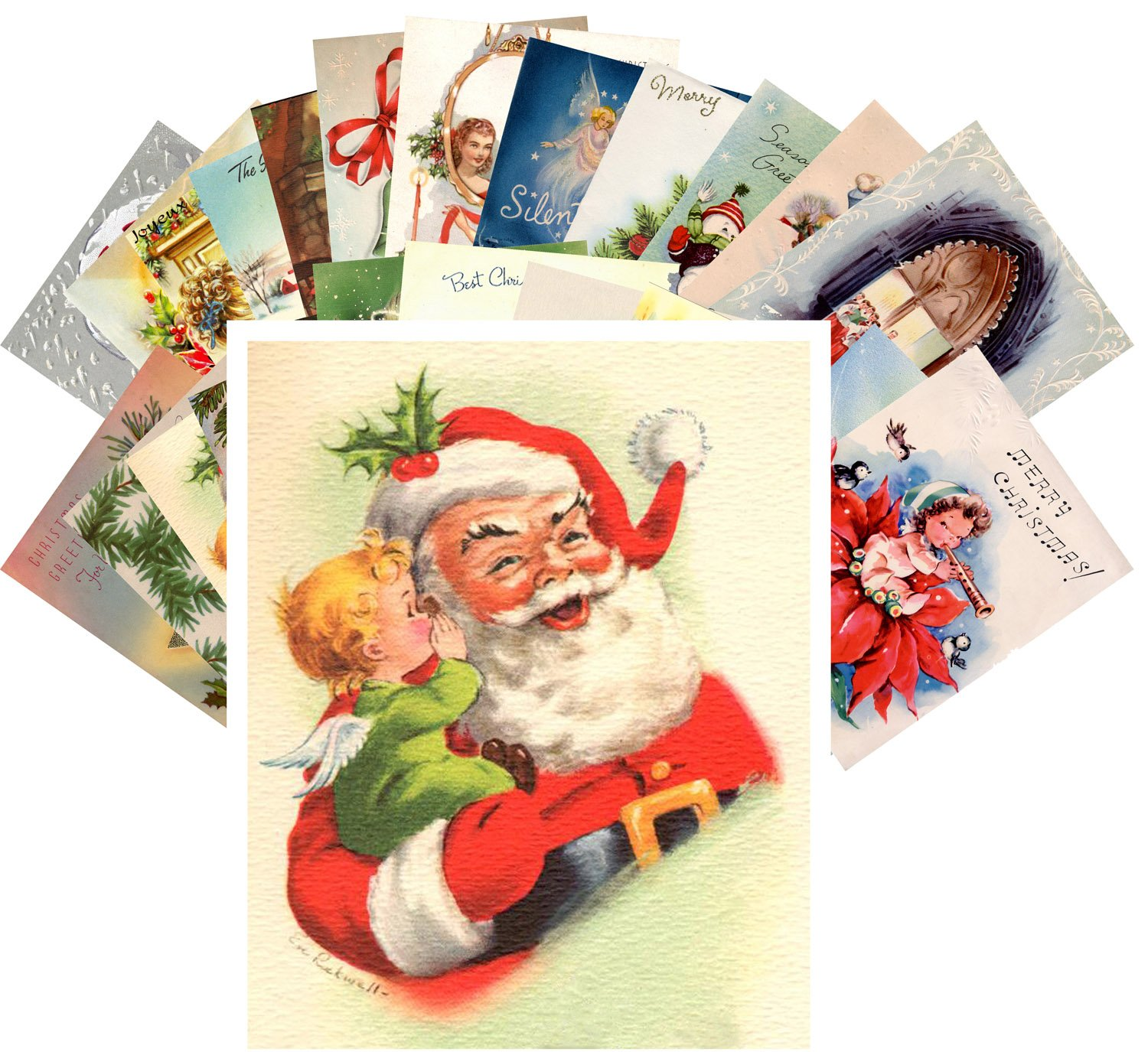 Old fashioned christmas cards 24 cards amazon postcard pack 24pcs vintage christmas greeting cards santa reprint kristyandbryce Image collections