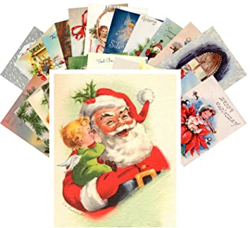 Christmas Greeting.Postcard Pack 24pcs Vintage Christmas Greeting Cards Santa Reprint