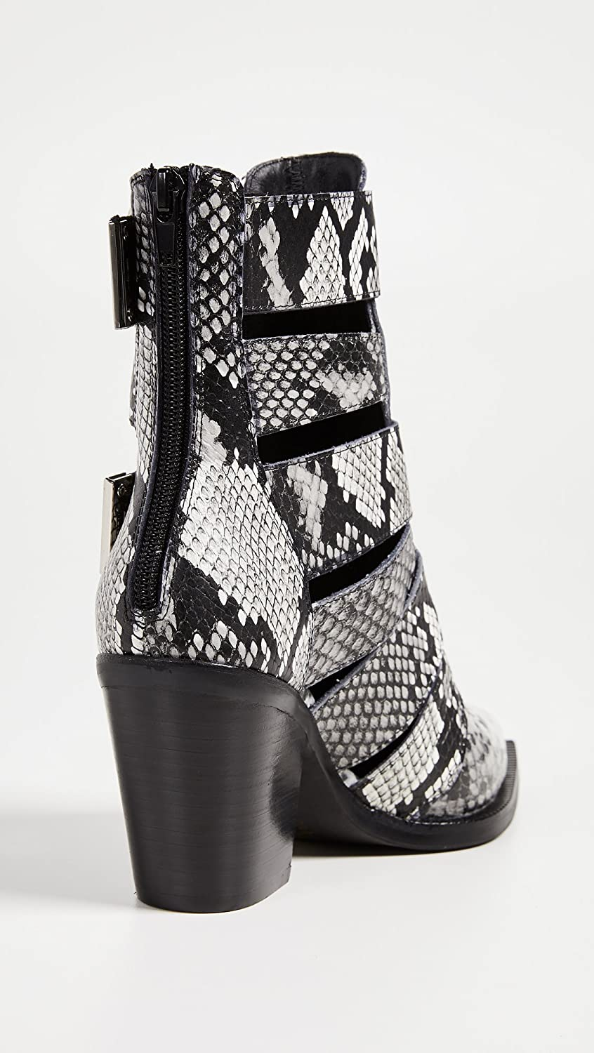Jeffrey Campbell Women's Caceres Buckle Booties B07FCMYYZT 8 B(M) US|Black/White Snake