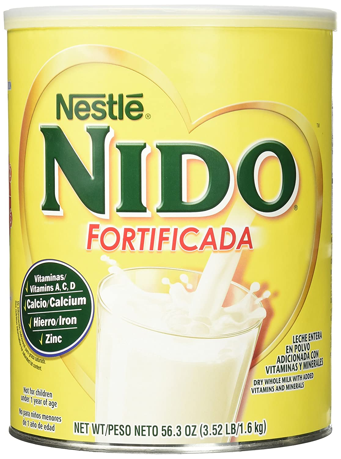 Amazon.com: NESTLE NIDO Fortificada Dry Milk 56.3 oz. Canister: Prime Pantry