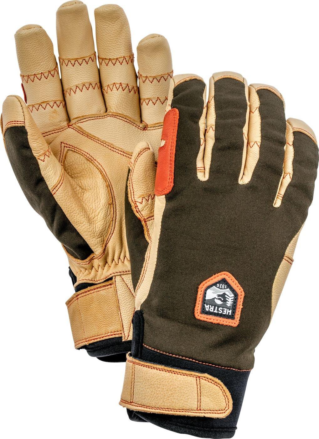 Hestra Outdoor Work Gloves: Ergo Grip Riding Cold Weather Gloves, Dark Forest/Natural Brown, 10