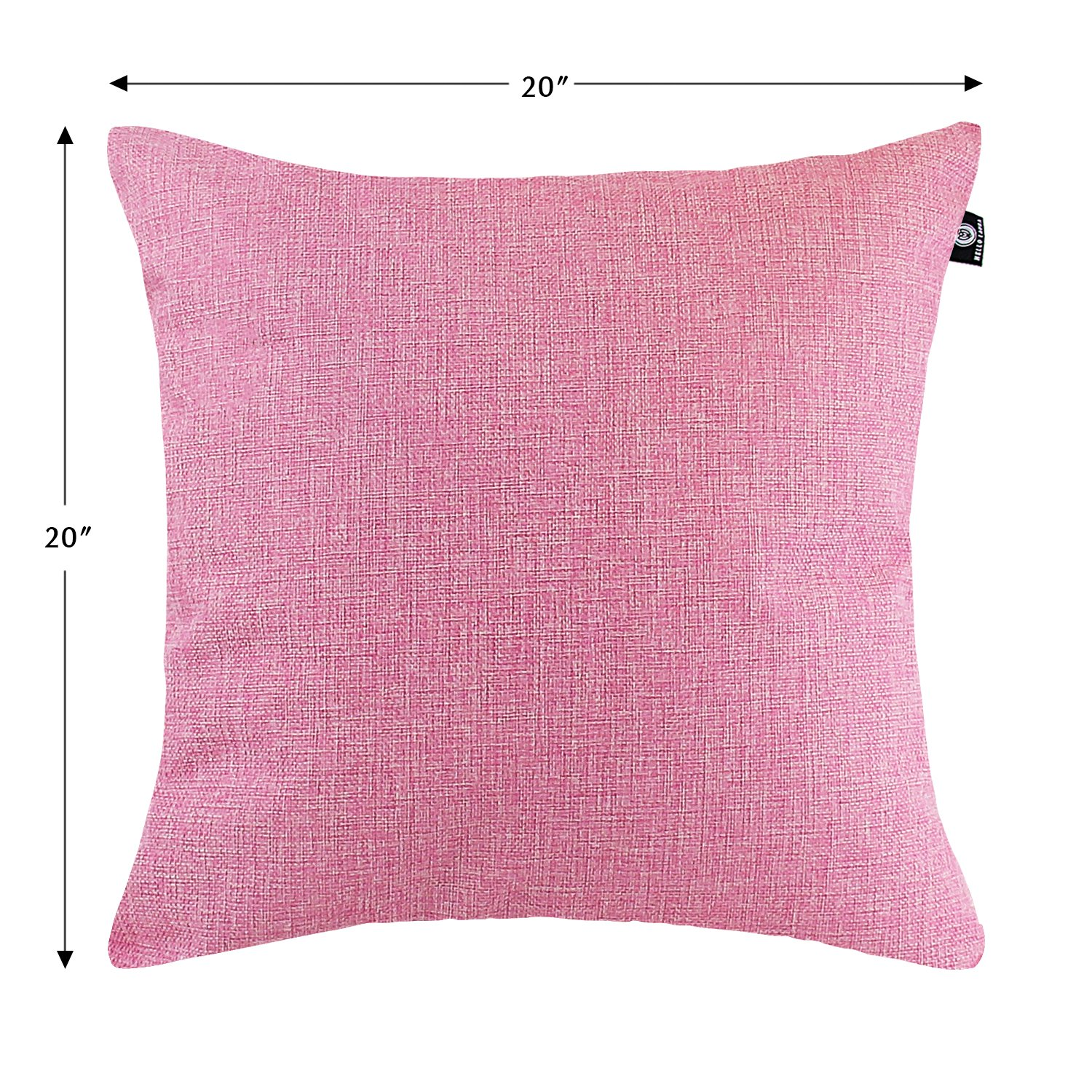 Hello Laura 4 Pieces Cushion Cover Home Decor Couch Throw Pillow Cushion Case Shell Cover Light Pink Hidden Zipper Durable Linen Cotton Blend 20 L x 20 H