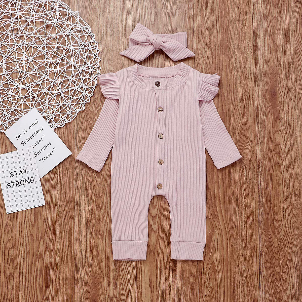 2PCS Newborn Baby Girls Romper Infant Long Sleeve Bodysuit Jumpsuit Ruffle Long Sleeves Bodysuit Button Down Coverall Autumn Winter Outfits