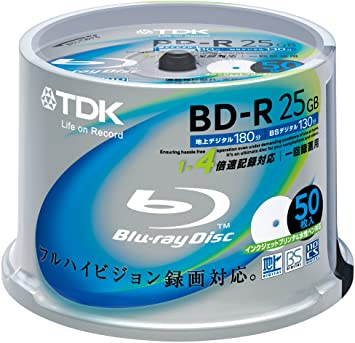 photograph relating to Printable Blu Ray Discs identified as TDK Blu-ray Disc 50 Spindle - 25GB 4X BD-R - Printable
