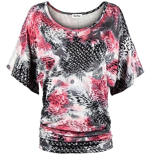 KorMei - Camiseta - Manga corta - para mujer
