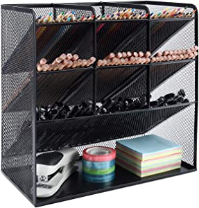 EasyPAG Mesh Desk Organizer Multi-Functional Pen Holder Stationary Organizer for School Home Office Art Supplies,Black