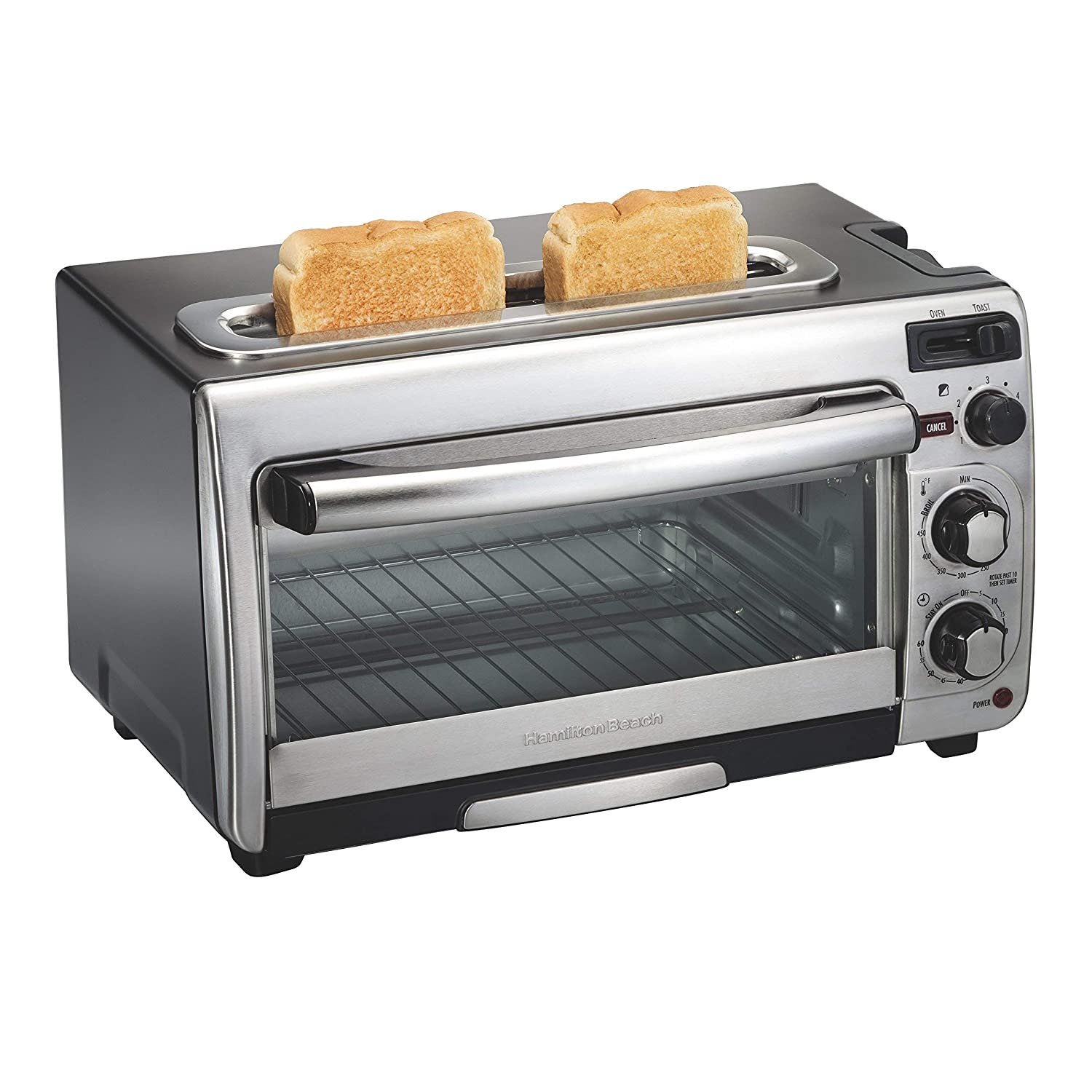 Hamilton Beach 2-in-1 Countertop Oven and Long Slot Toaster, Stainless Steel, 60 Minute Timer and Automatic Shut Off (31156), Large, (Renewed)