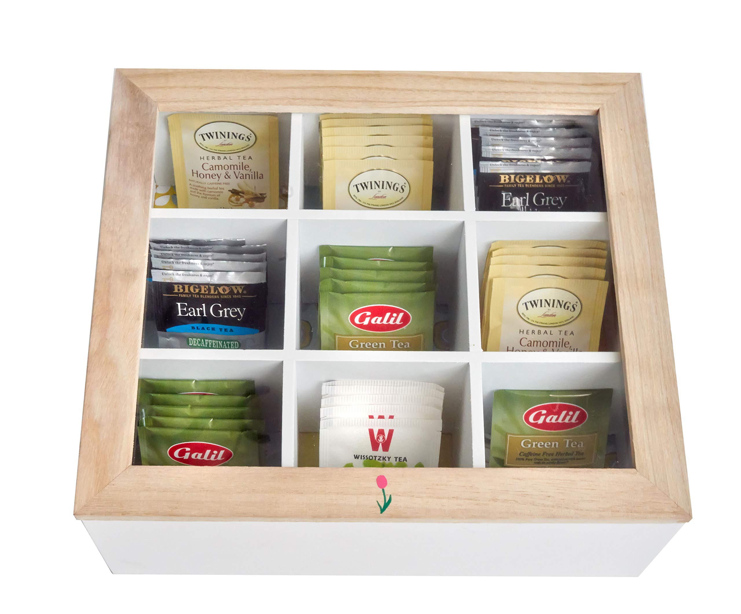 Wooden Tea Box Storage Chest With 9 Large Individual Compartments - Holds 130+ Standing or Flat Tea Bags