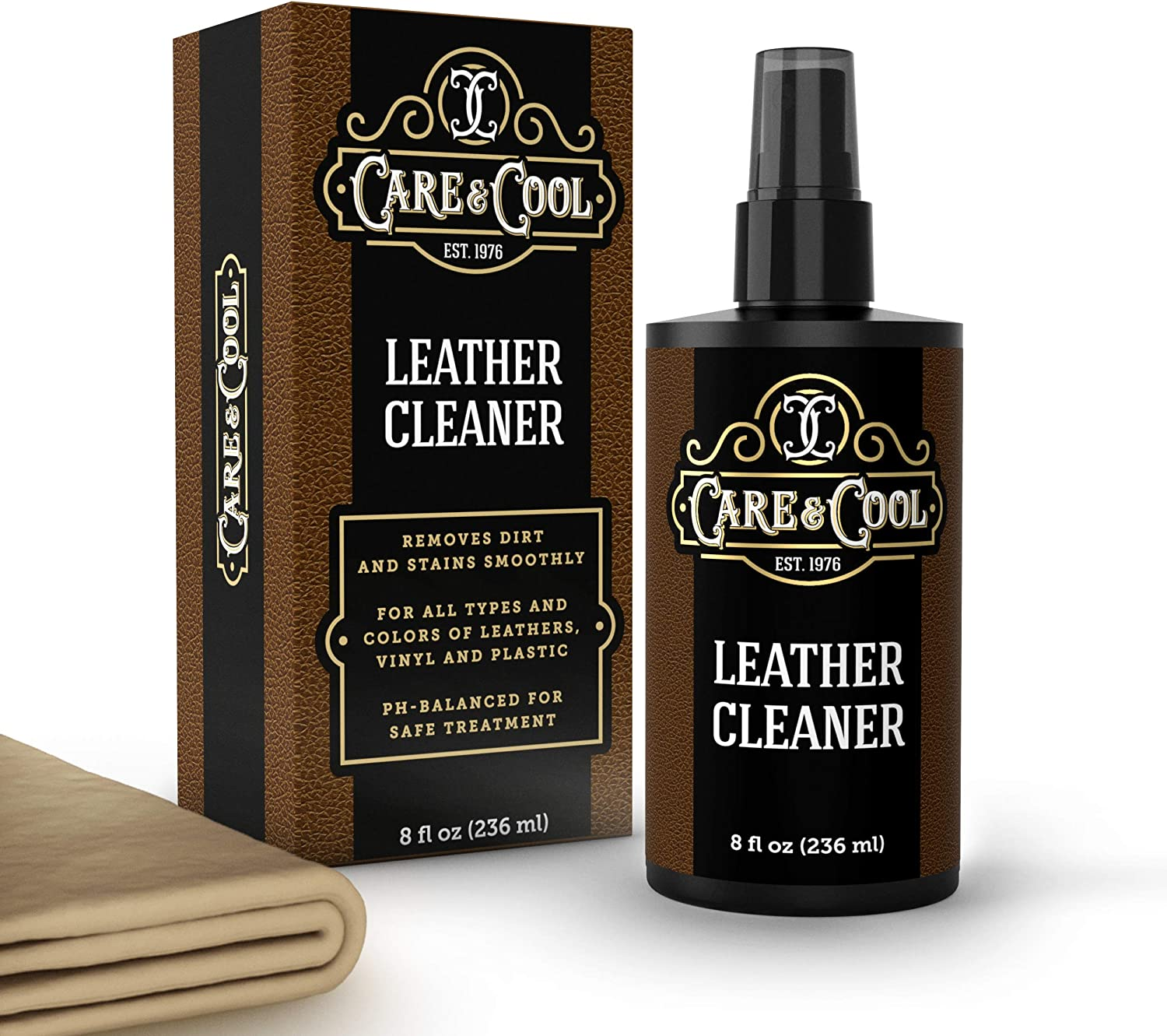 Care & Cool Leather Cleaner with Premium Hi-tech Cloth. The Best Universal Leather Cleaner for Shoes, Sneakers, Jackets, Upholstery and Much More. Ensures the Breathability of Leather Products, Essential to Durability, Restoring Vividness and Brightness. Setting the Standards in Leather Care since 1976.
