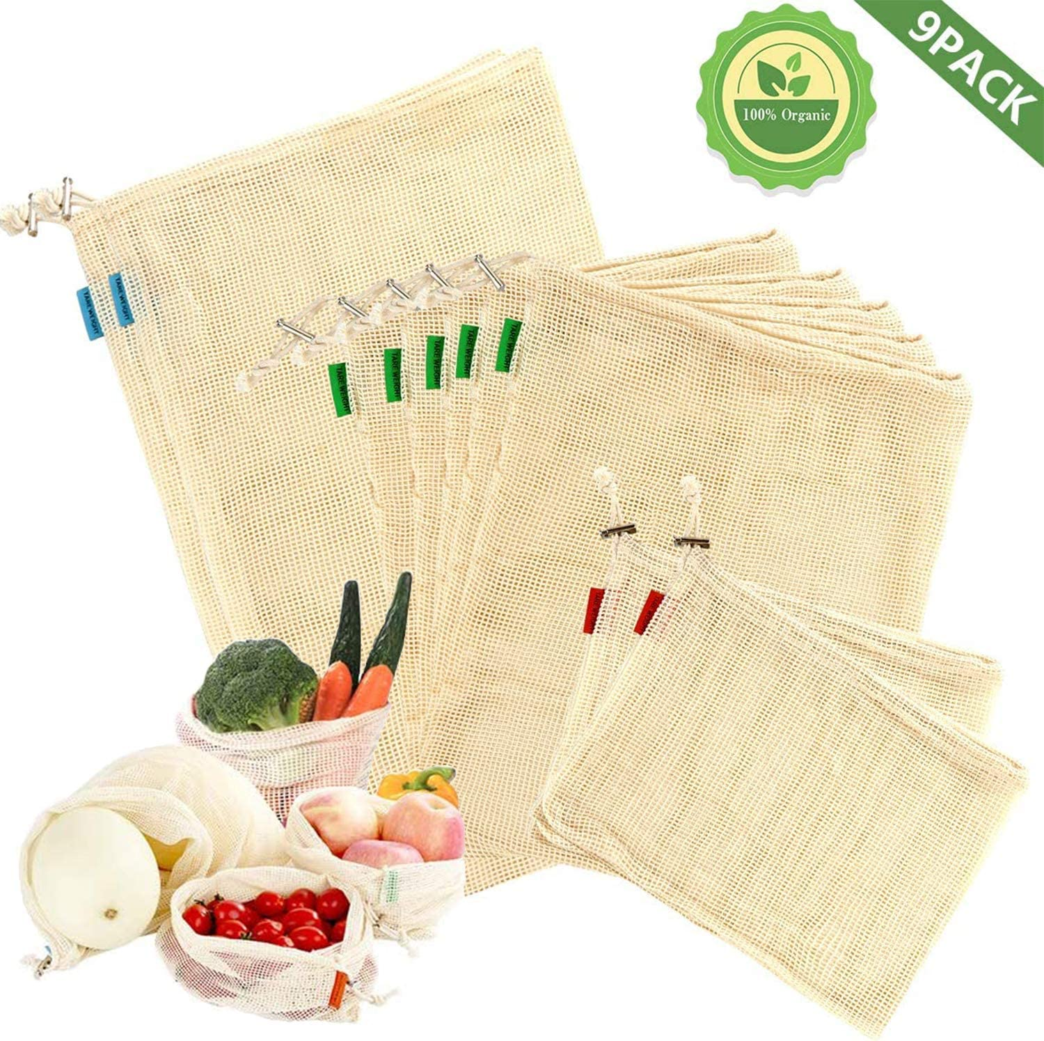 Evanno Zero Waste Produce bags,Natural Cotton Durable and Environment-Friendly Reusable Produce Bags for Vegetables,Fruit,Kid Toy Storage(Set of 2 Small,5 Medium,2 Large)