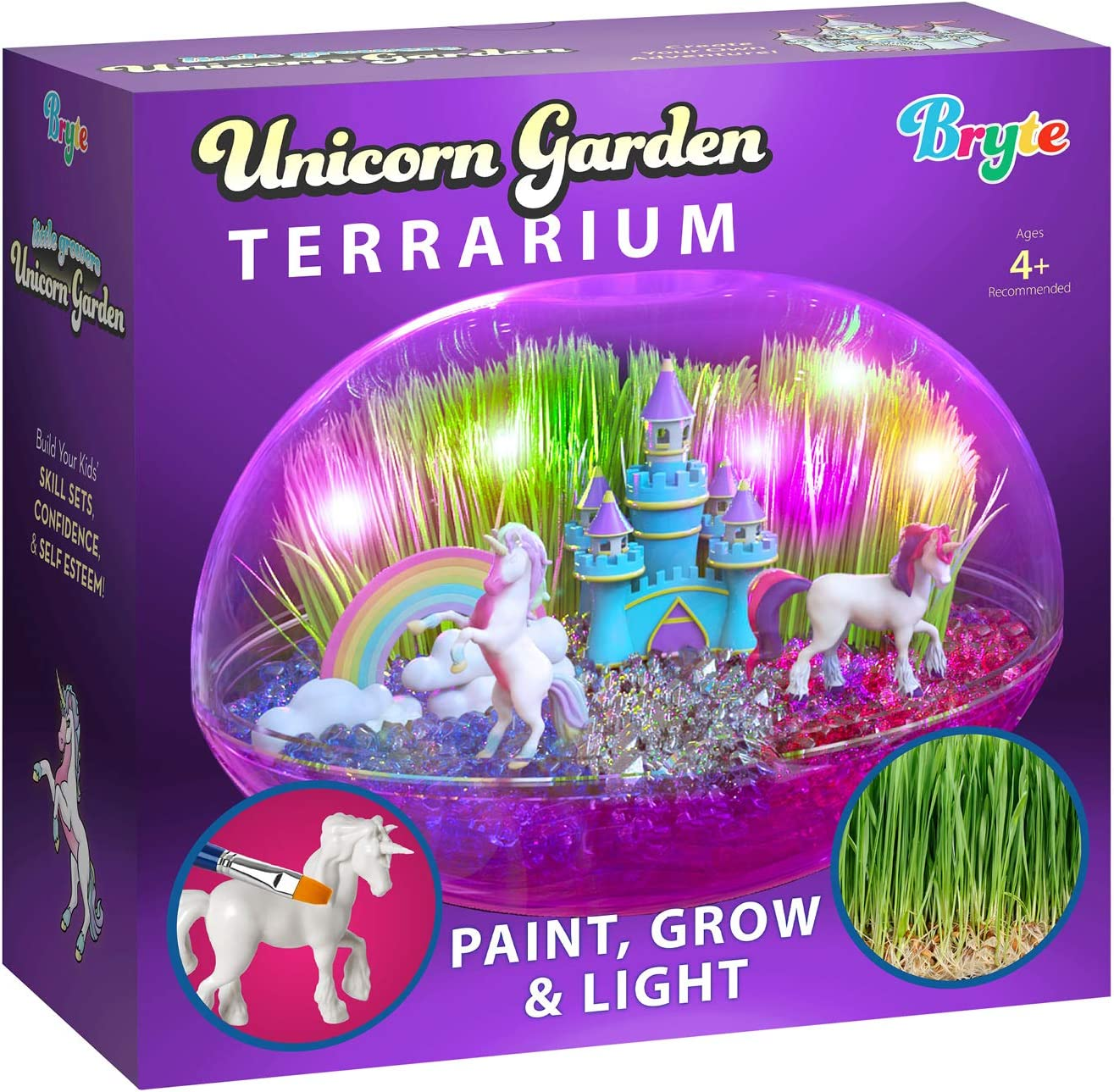 Little Growers Unicorn Terrarium Kit for Kids with Rainbow Fairy Lights and Paintable Figurines - Plant and Grow Light Up Garden - Science and Craft Kits for Girls and Boys - STEM Age Gifts and Toys