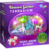 Little Growers Unicorn Terrarium Kit for Kids with Rainbow Fairy Lights and Paintable Figurines - Plant and Grow Light Up Gar