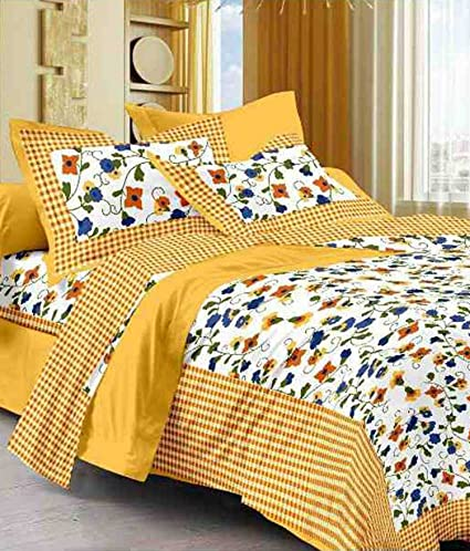Suraaj Fashion 100% Cotton rajasthani jaipuri sanganeri traditional king size double bed sheet with 2 Pillow Covers