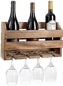 Wall Mount Wine Rack, Barnwood - Mounted Wooden Holder for Wine Bottles & Glasses