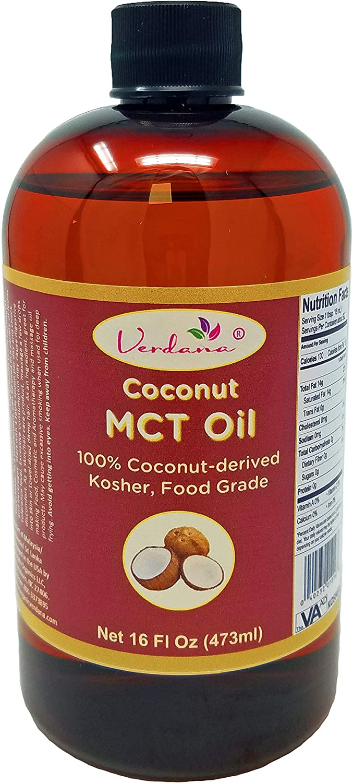 Verdana Coconut MCT Oil – Fractionated – 100% Genuine – No Palm Kernel Used – Kosher Food Grade - Non GMO – Pure - Vegan – Used for Keto, Paleo, Sports Nutrition, Aromatherapy, Massage – 16 Fl Oz