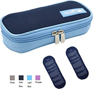 TAWA apollo walker Insulin Cooler Bag Diabetic Medication Cooler with 2 Ice Pack and Insulation Liner (Dark Blue)
