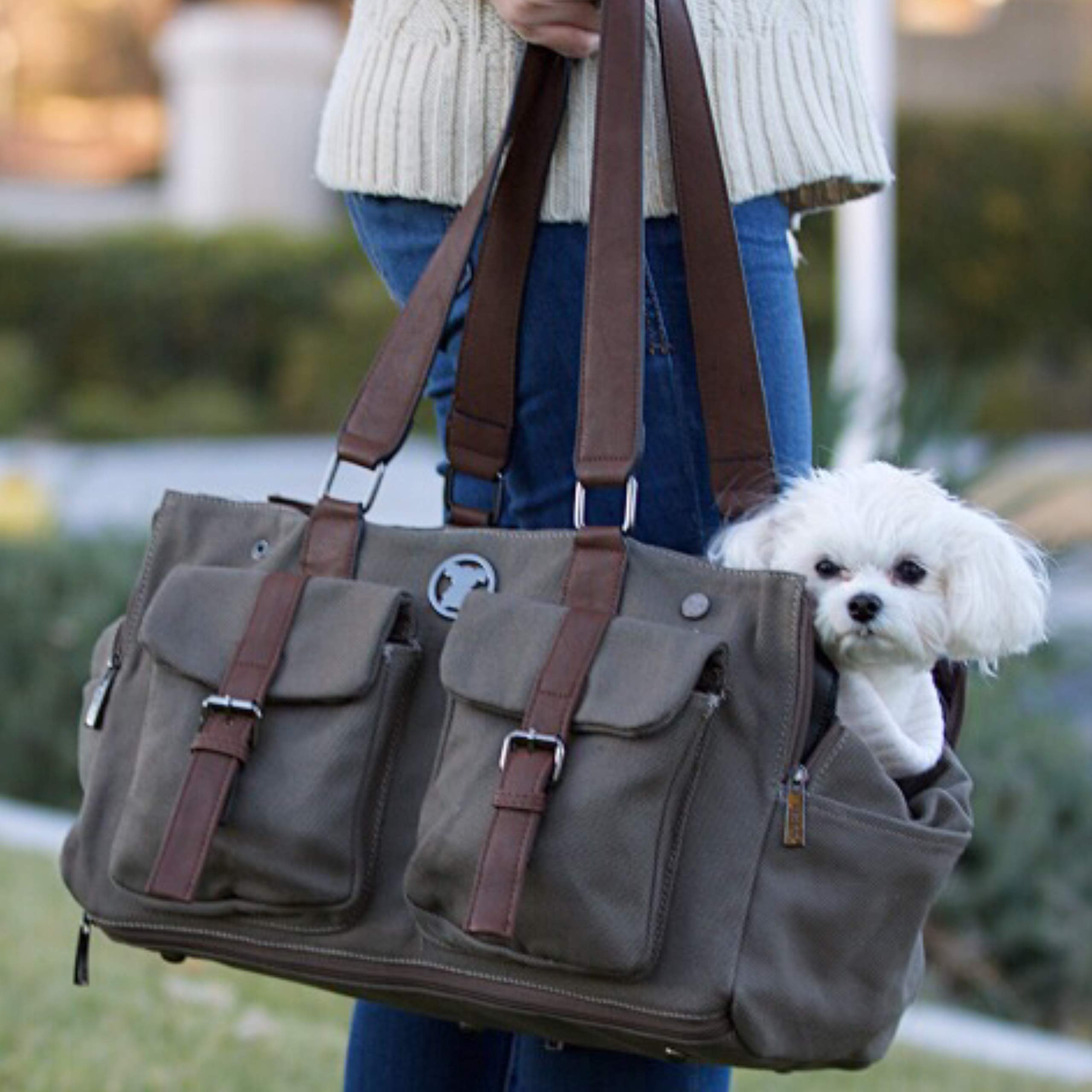 MISO PUP Shell Tote for use Interchangeable Base Pet Carrier (Shell Tote) (Shell Tote ONLY for USE with Base PET Carrier, Weekend Canvas Green) by MISO PUP