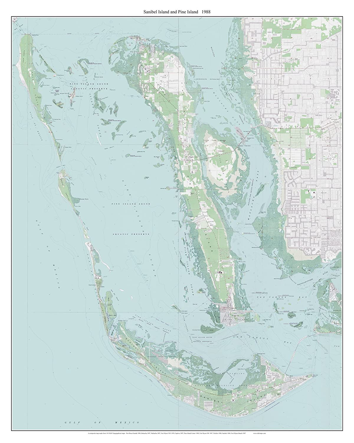 Amazon.com: Sanibel Island and Pine Island Florida 1988 Topo ...