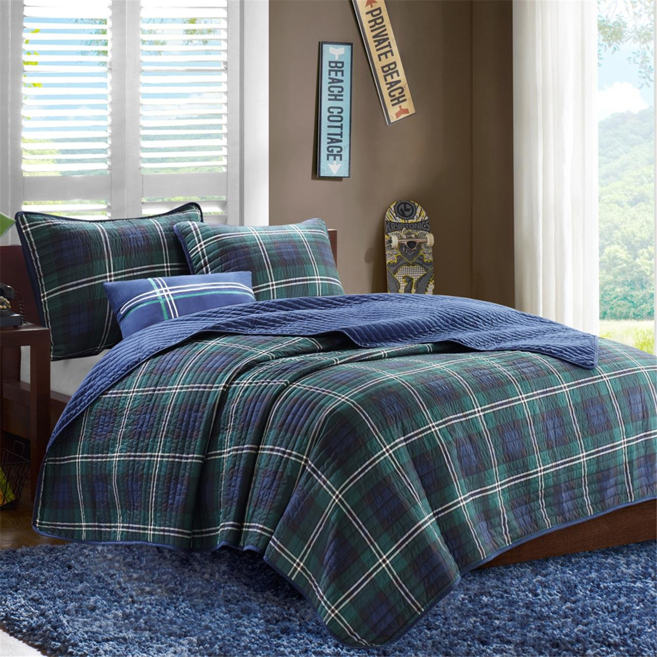 Mi-Zone Brody Full/Queen Size Teen Boys Quilt Bedding Set - Blue, Green, Plaid - 4 Piece Boys Bedding Quilt Coverlets - Peach Skin Fabric Bed Quilts Quilted Coverlet by Mi-Zone