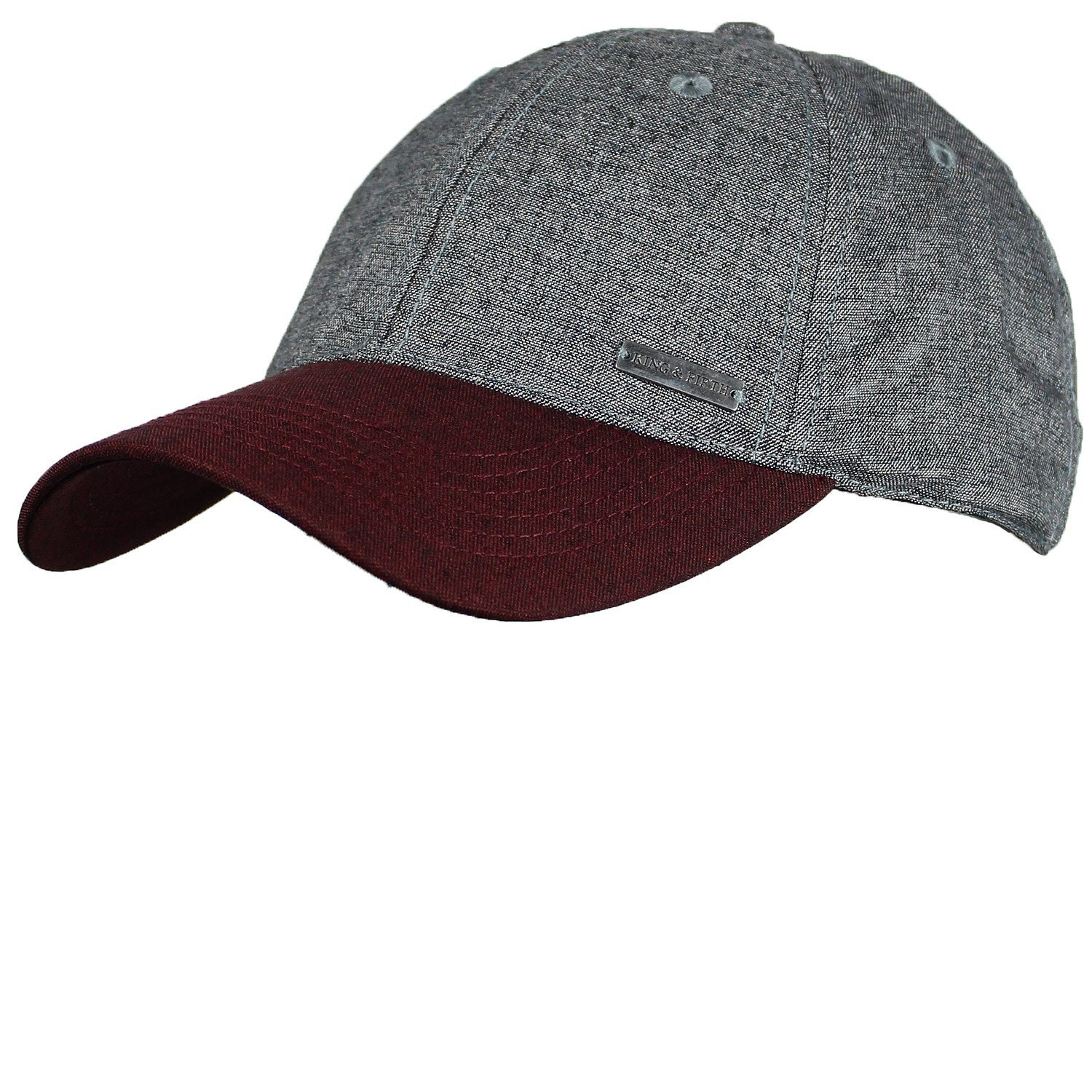 Baseball Hats for Men & Women by King & Fifth | Baseball Hat with Low Profile & Stylish Fabric + Dad Hat + Burgundy Grey Baseball Cap