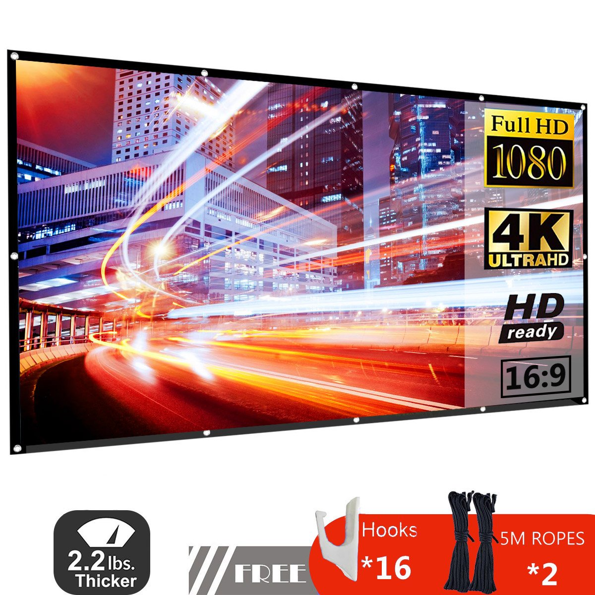 120 Inch Projector Screen 16:9 HD Foldable Portable Anti-Crease Indoor Outdoor Movie Screen Support Double Slides Projection for Home Theater Gaming Office by JDDZ