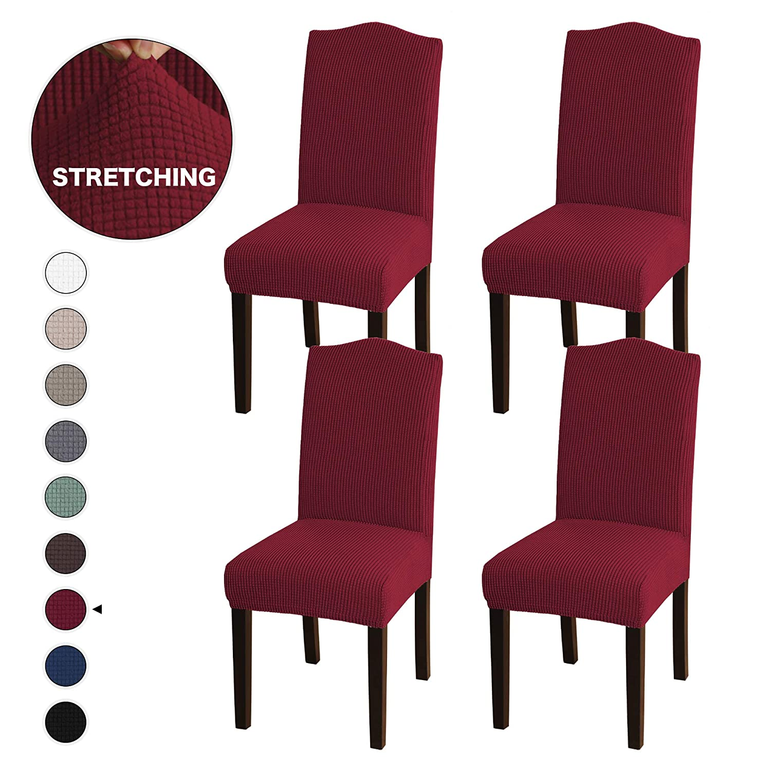 4 Pack Stretch Dining Room Chair Slipcovers Sets, Stretch Chair Furniture Protector Covers Removable Washable Elastic Bottom Chair Cover for Dining Room, Hotel, Ceremony Burgundy
