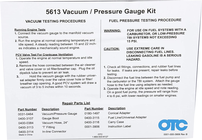 OTC 5613 Vacuum//Pressure Gauge Kit