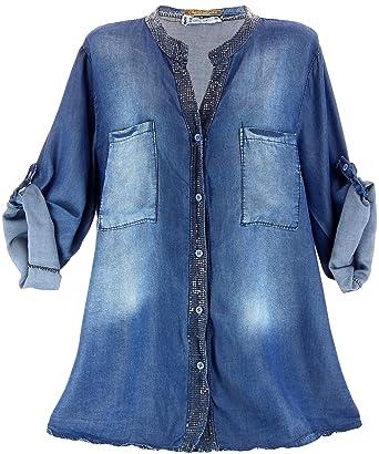 Charleselie94® - Chemise tunique jean -NOEMIE - brodée sequins grande  taille - Bleu 52 98d27872d5dd