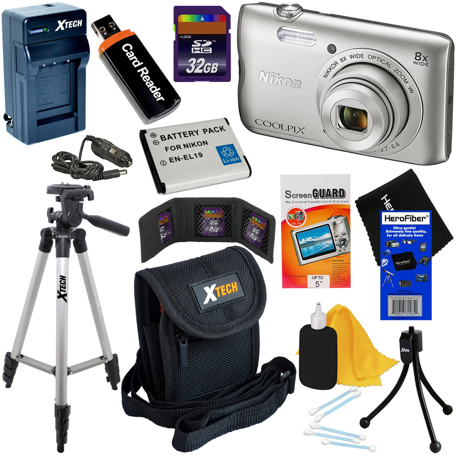 Nikon COOLPIX A300 20.1MP Digital Camera with 8x Zoom Lens & Built-in Wi-Fi (Silver) - International Version (No Warranty) + Battery & AC/DC Charger + 10pc 32GB Dlx Accessory Kit w/HeroFiber Cloth