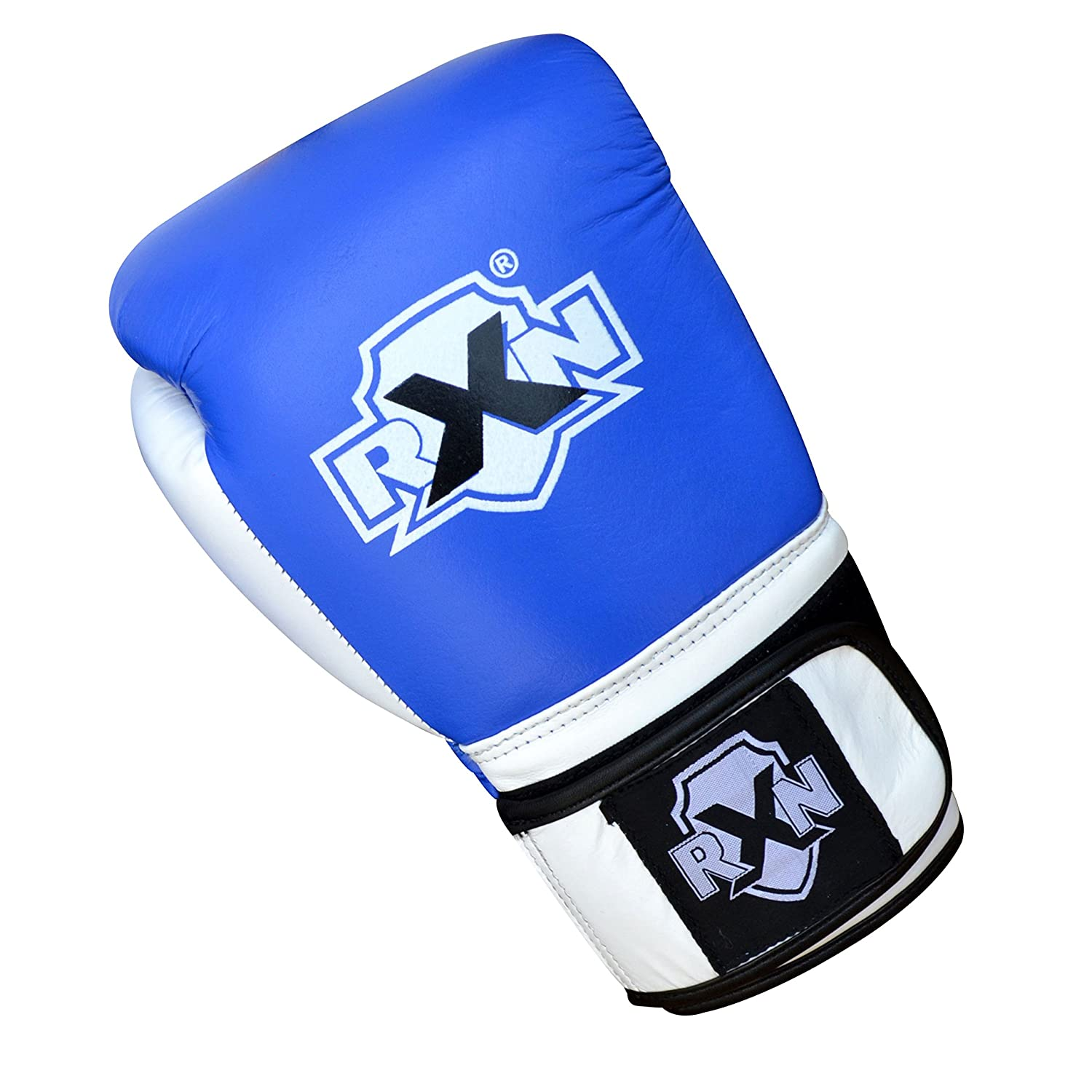 RXN First TIME HIGH Top Boxing Gloves Pure Cowhide Leather Glove Blue//White