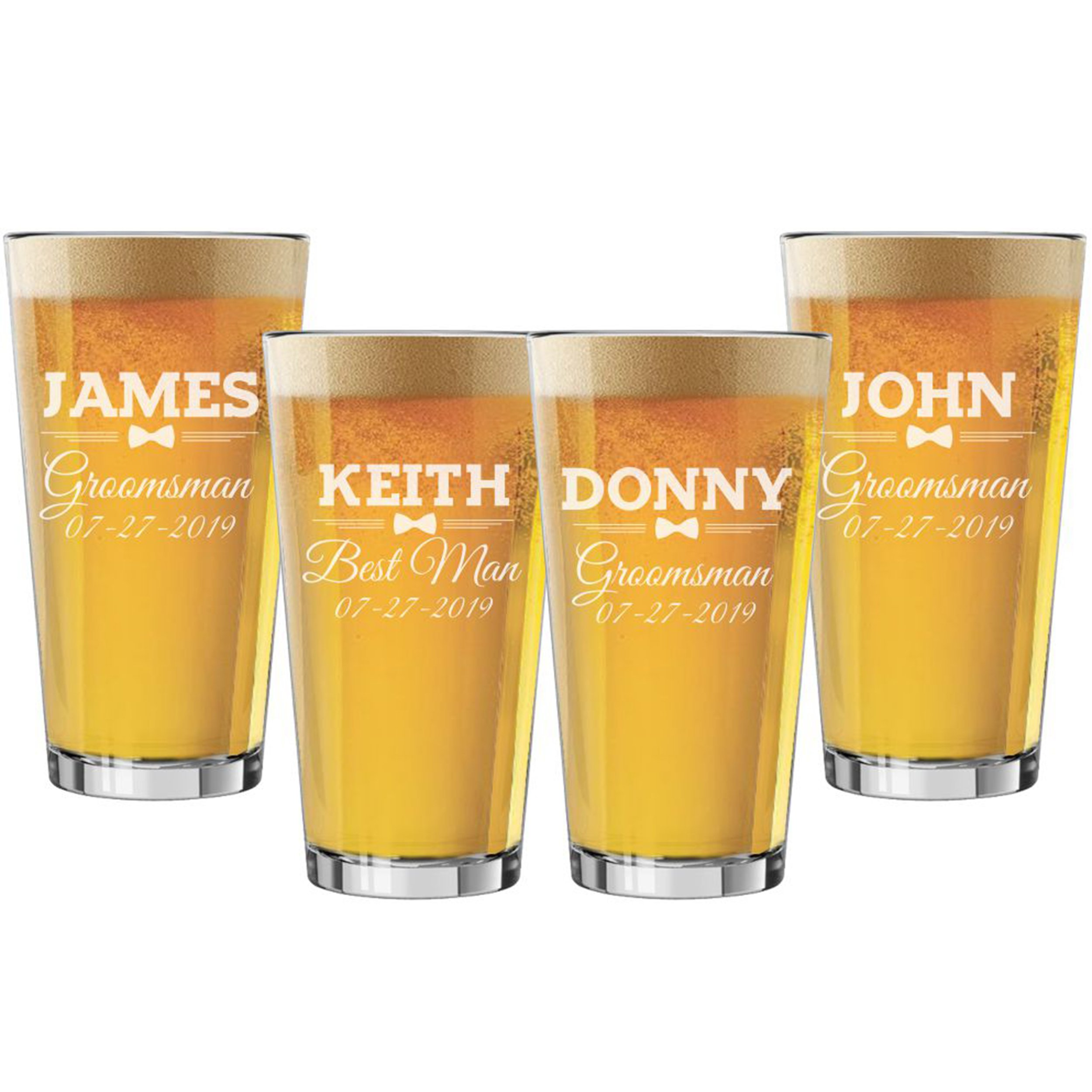 Set of 3, Set of 5, Set of 7 and more Groomsman Wedding Party 16 oz Pint Beer Glasses - Custom Engraved and Personalized for Free - Bow Tie Style (4)