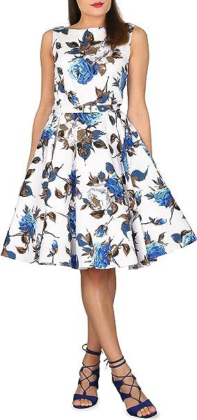 BlackButterfly Audrey Vestido Vintage Mercy Años 50 (Blanco Azul, ...