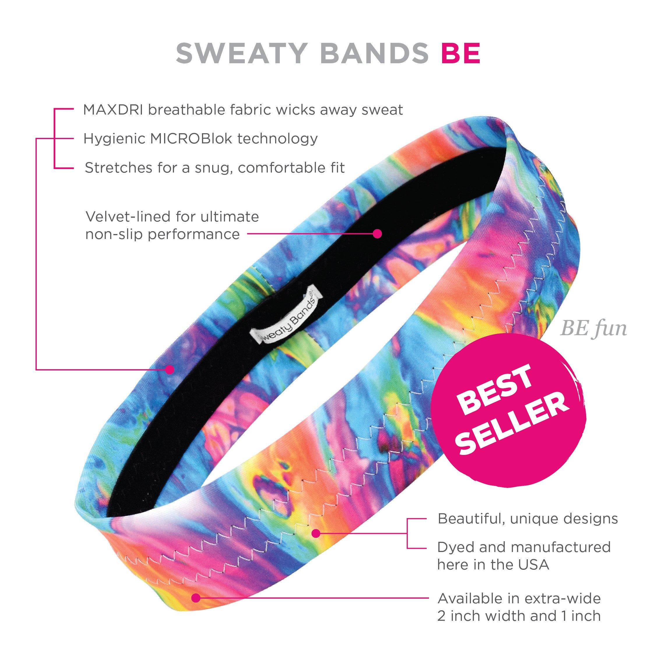 Sweaty Bands Womens Girls Headband - Non-Slip Velvet-Lined Sport Hairband - BE Fun Multi 1-Inch by Sweaty Bands (Image #5)