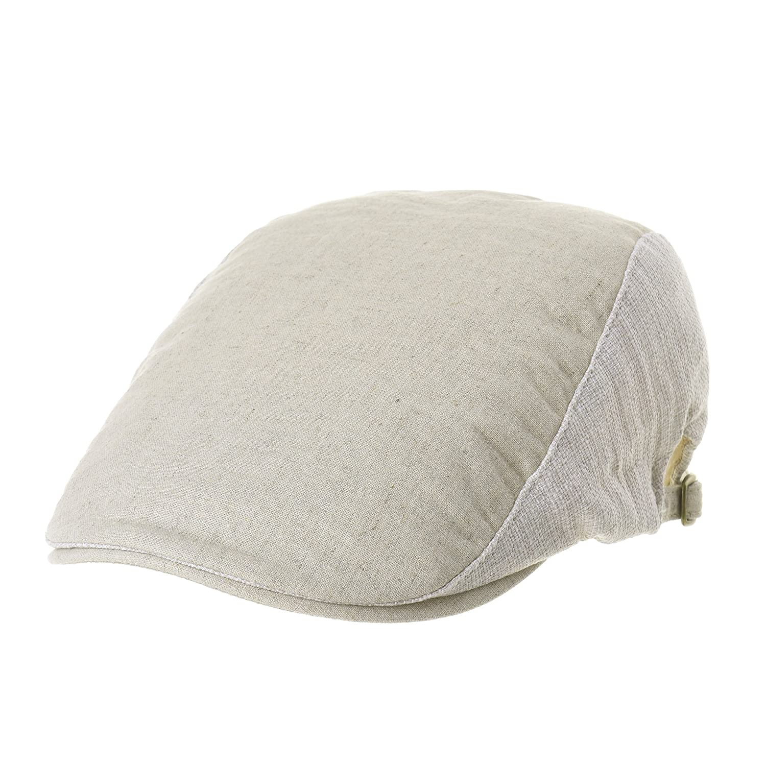 WITHMOONS Summer Linen Flat Cap Two Block Neutral Color Ivy Hat LD3051